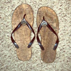 Michael Kors Black/Tan Thong Sandals